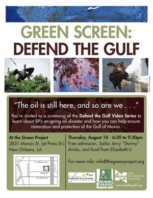 Green screen, defend the gulf